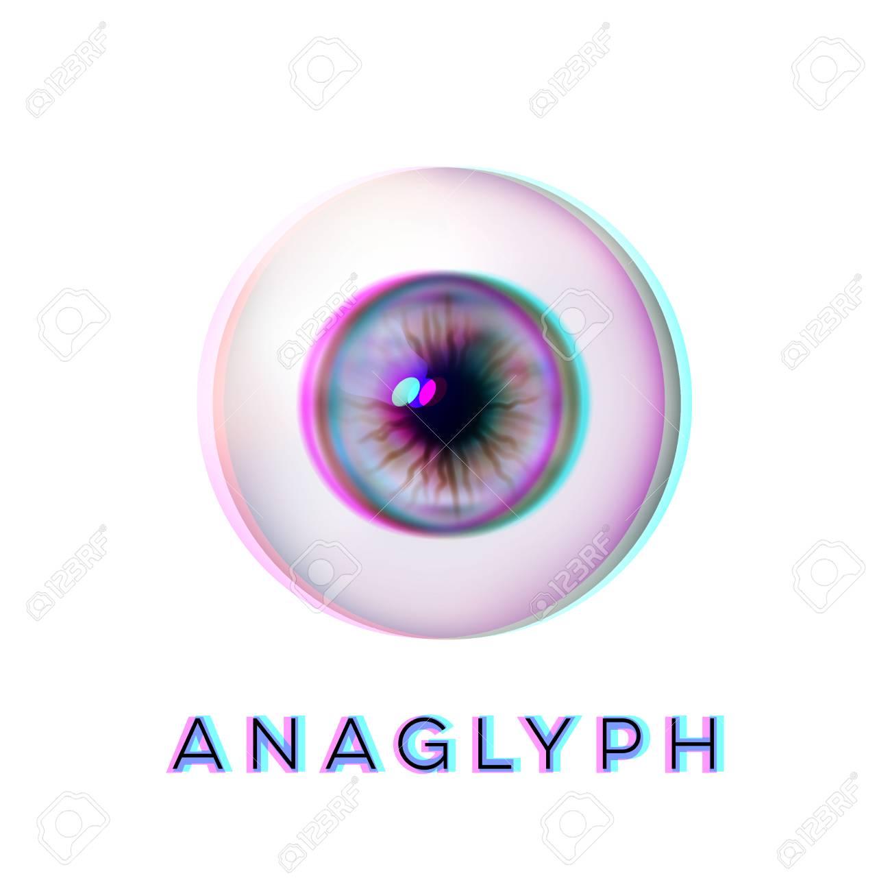 anaglyph concept realistic eyeball human eye vector illustration