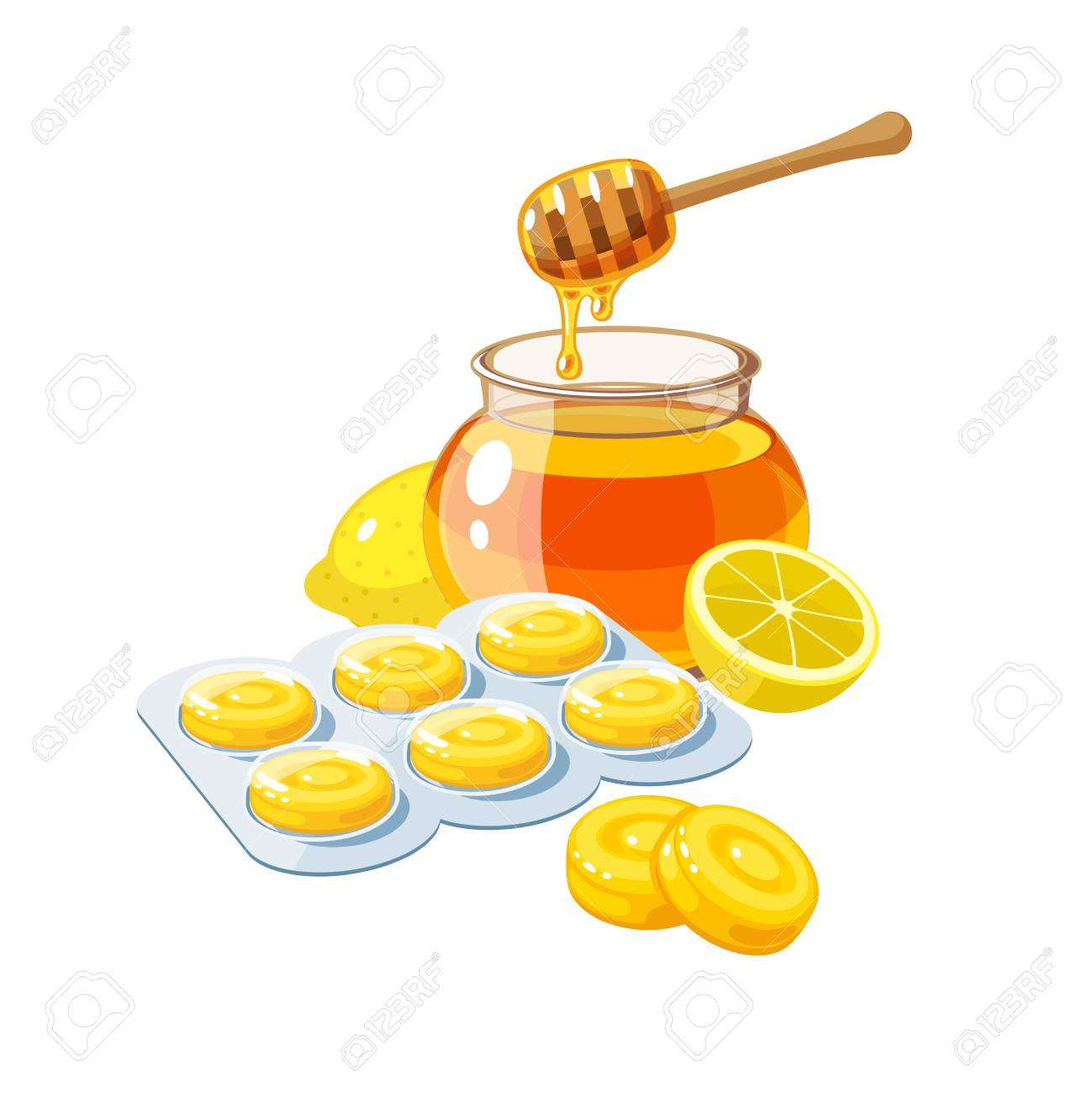 Cough drops  Sore throat remedy, package of yellow lozenges,
