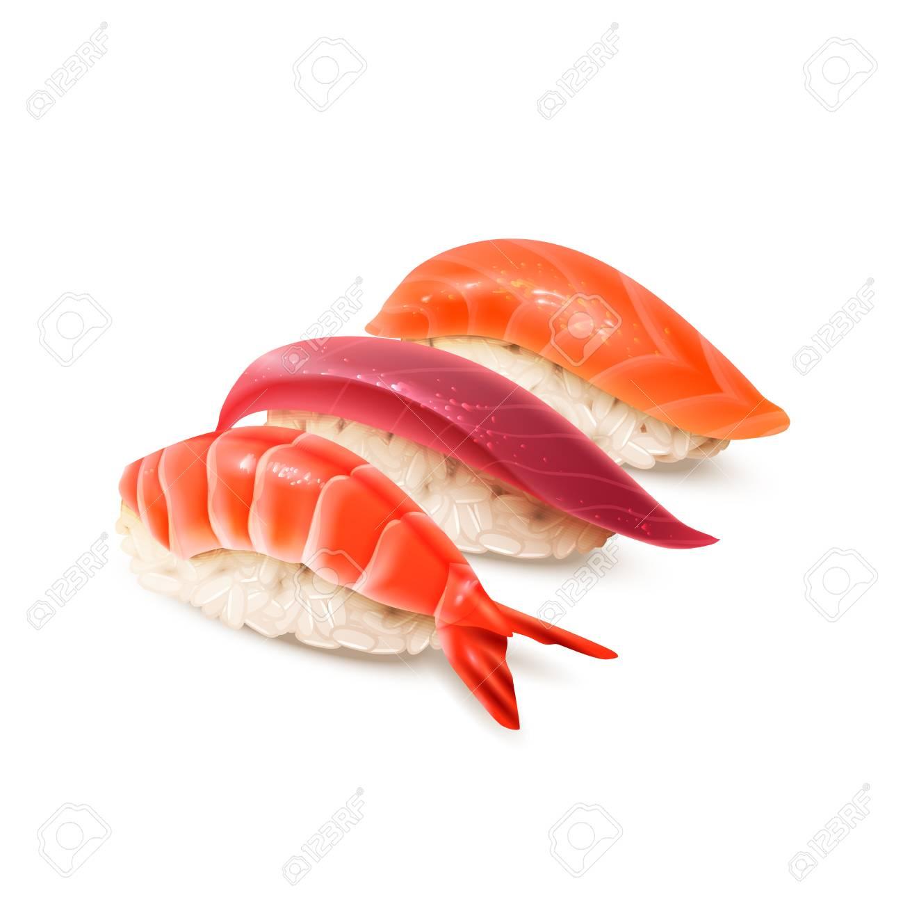 リアルな寿司セットです日本料理伝統的な食べ物白いベクトル