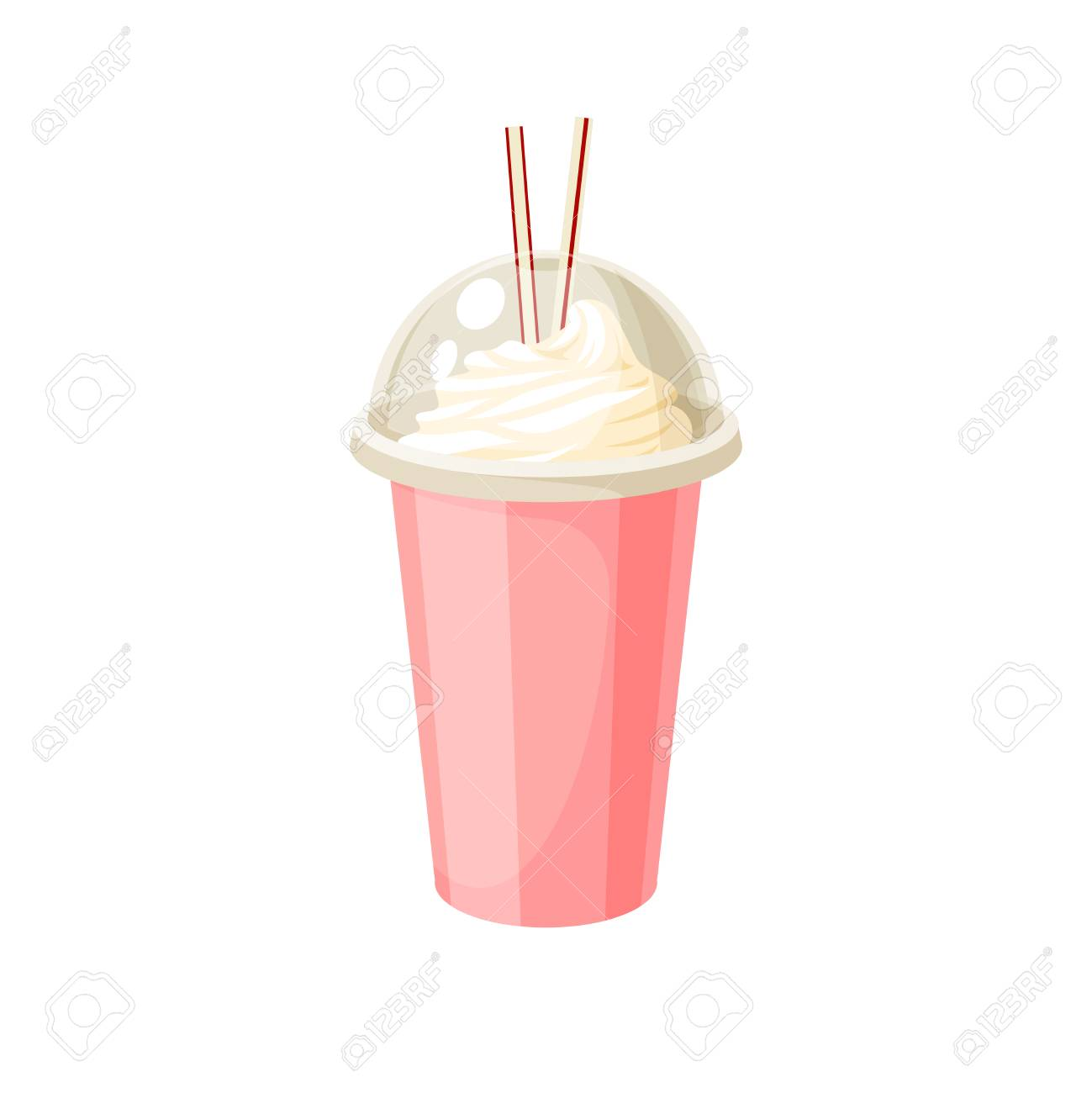 Plastic cup with lid and straw, full of milkshake. Vector illustration cartoon flat icon isolated on white. - 98368039