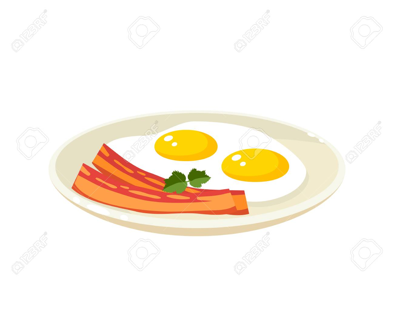 Breakfast Delicious Start To The Day Plate With Fried Eggs Royalty Free Cliparts Vectors And Stock Illustration Image 98677342