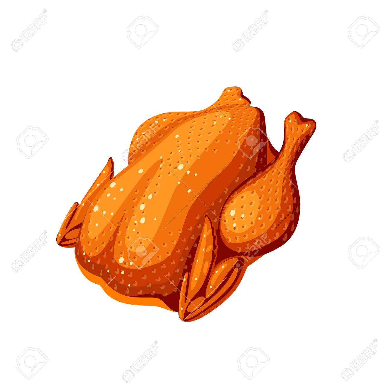 Fried whole chicken. Vector illustration cartoon flat icon isolated on white. - 106196674