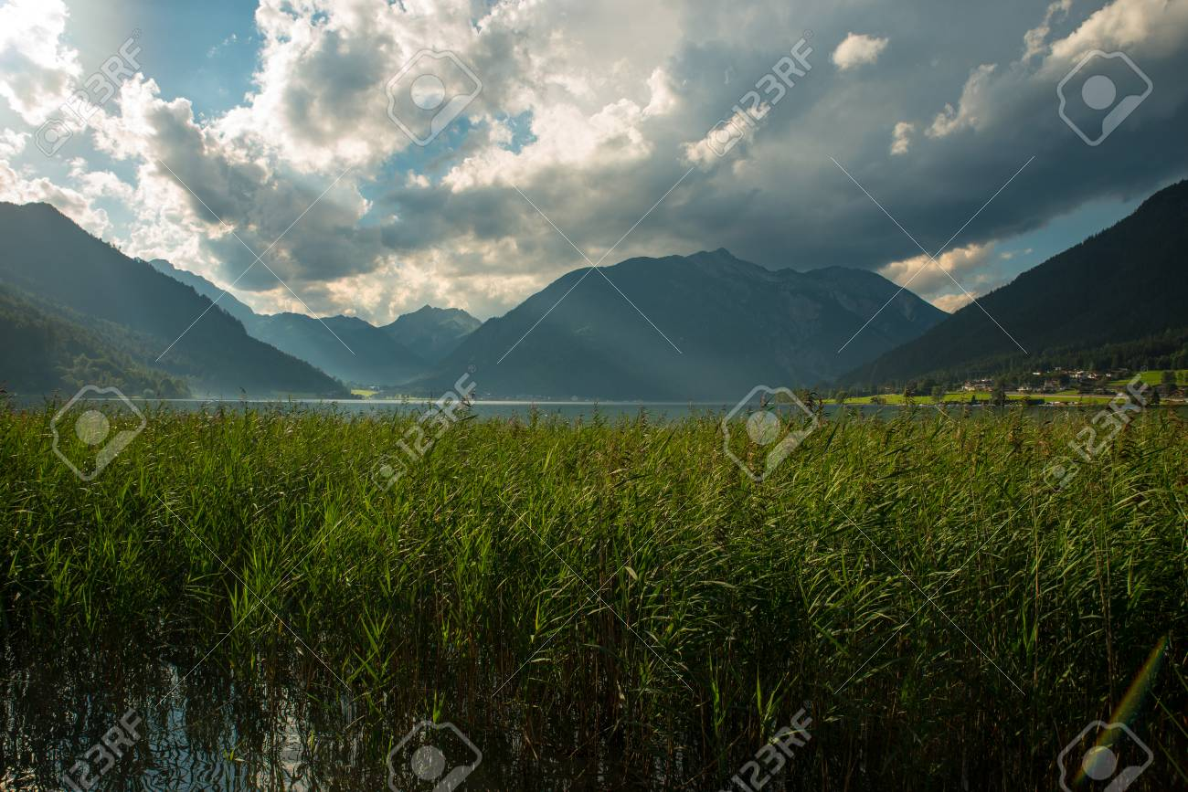 View of the nice Achensee in the Tyrolean alps - 63864905