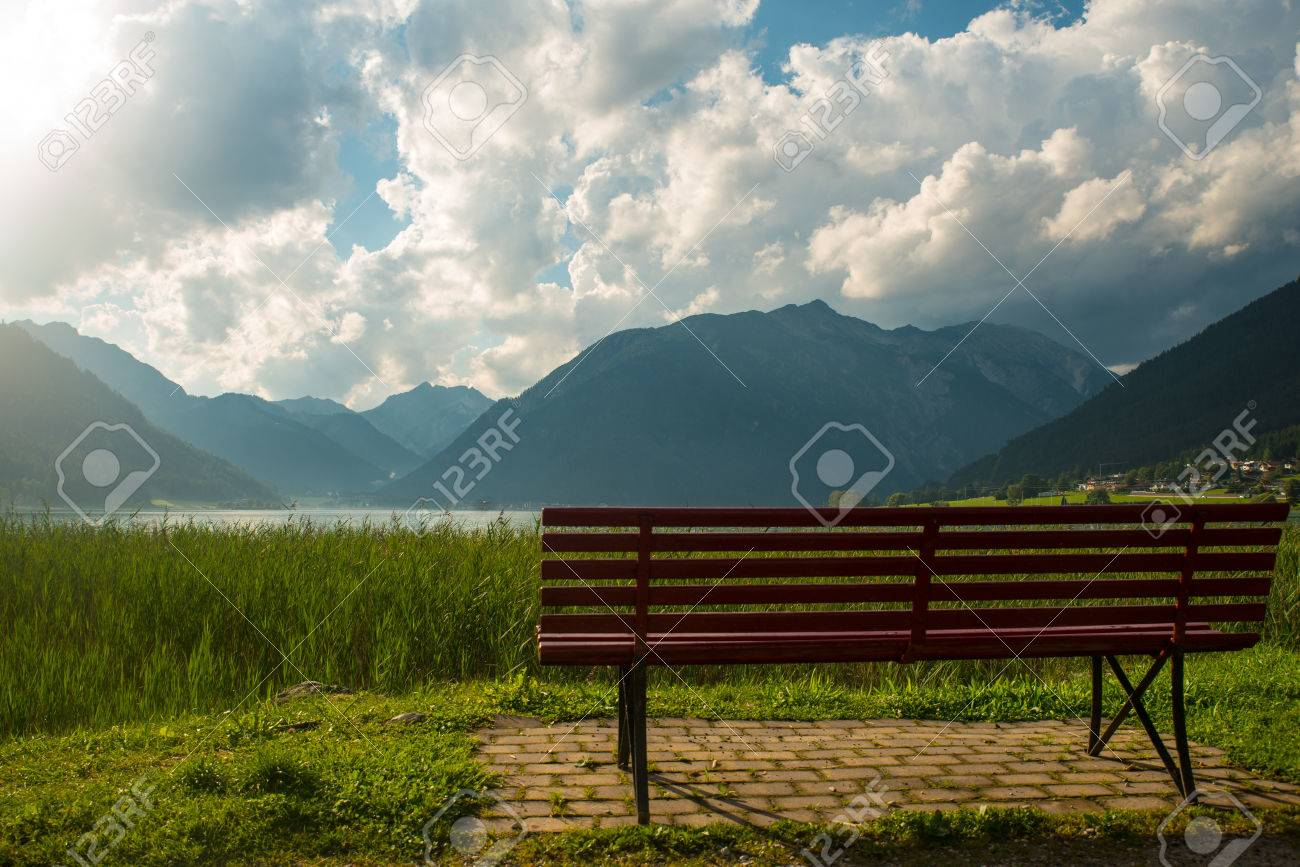 View of the nice Achensee in the Tyrolean alps - 63864904