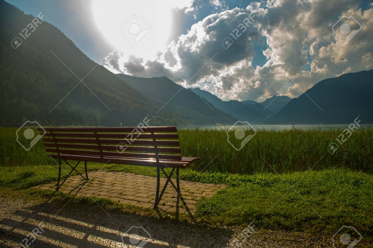 View of the nice Achensee in the Tyrolean alps - 63861948