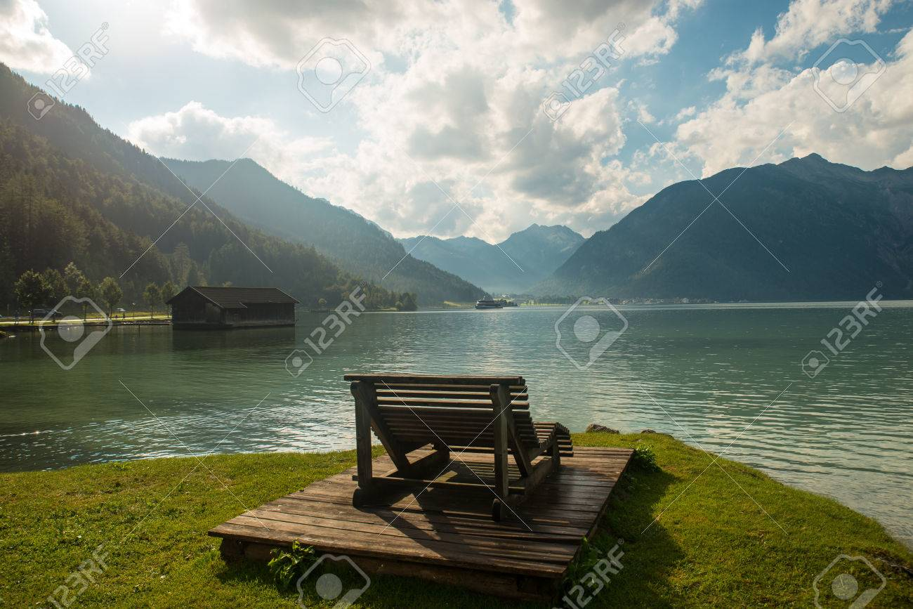 View of the nice Achensee in the Tyrolean alps - 63861953