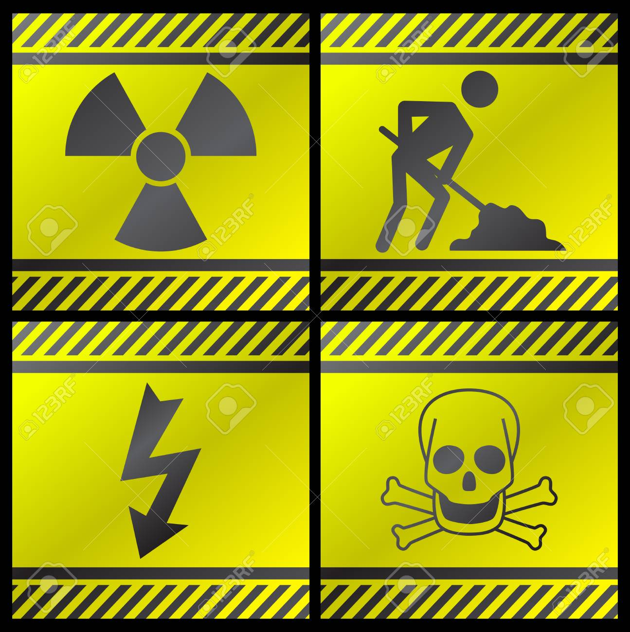 Danger signals gray and yellow on a white background Stock Vector - 4464288