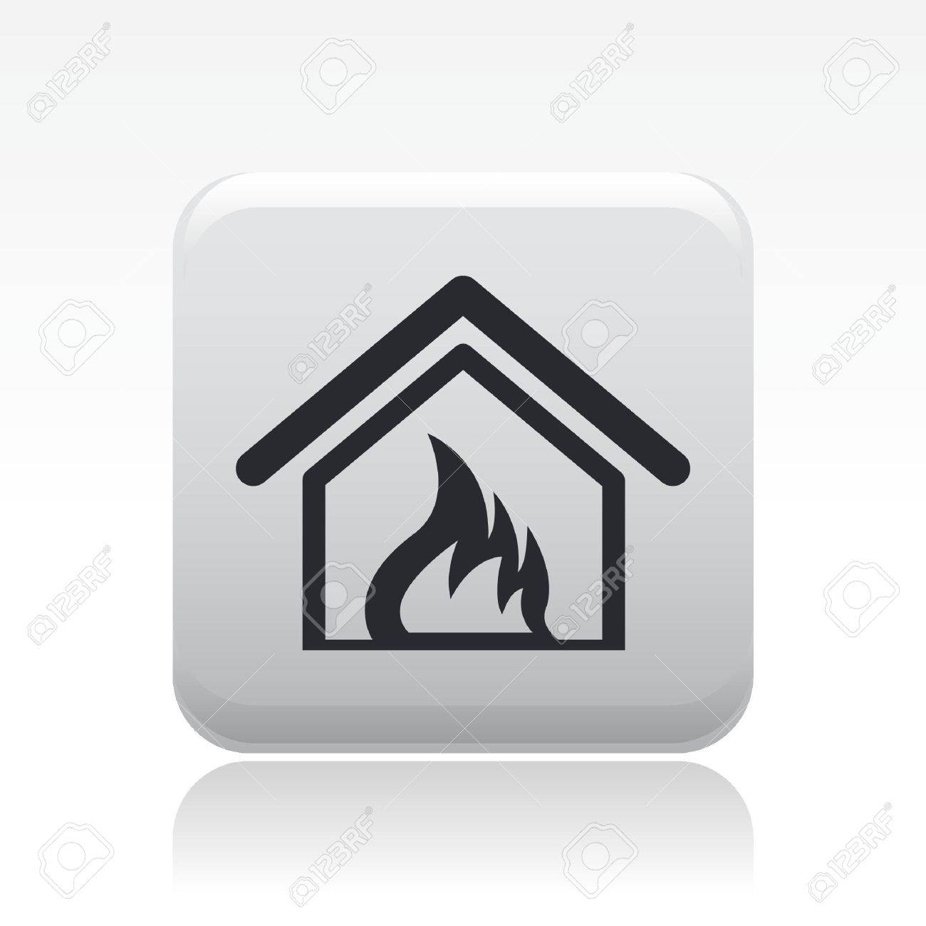 Vector illustration of house burning single isolated icon Stock Vector - 12119685