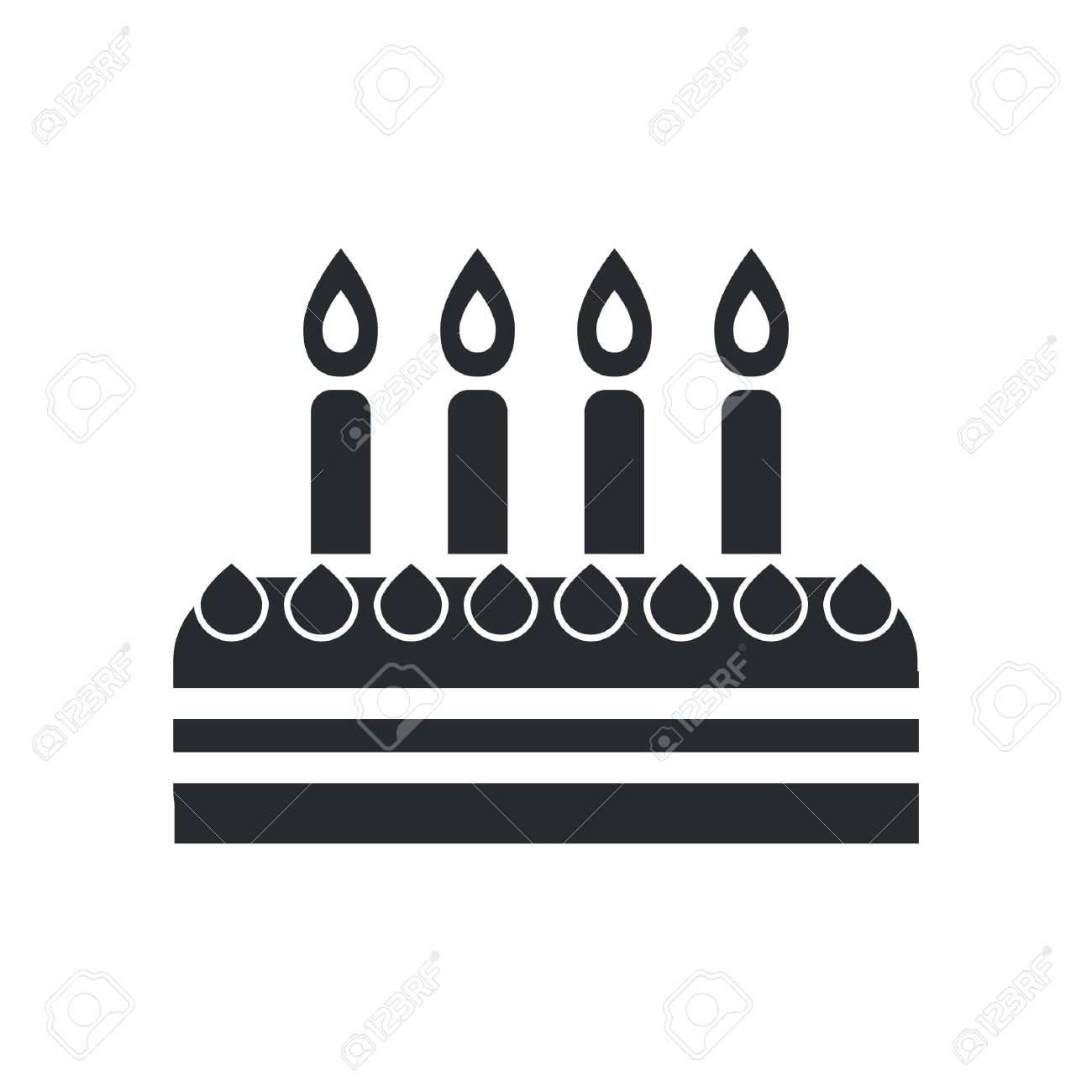 Vector Illustration Of Single Isolated Birthday Cake Icon Royalty