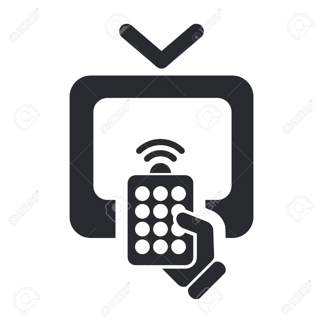 Vector illustration of single isolated remote tv icon - 12127671