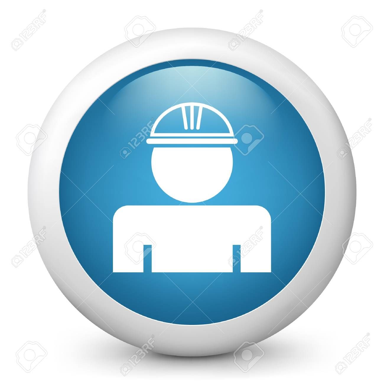 Vector illustration of blue glossy icon. - 17705165