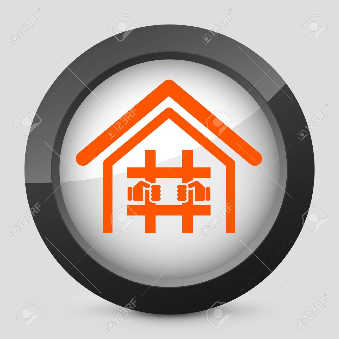 Vector illustration of single isolated elegant orange glossy icon. Stock Vector - 17790124