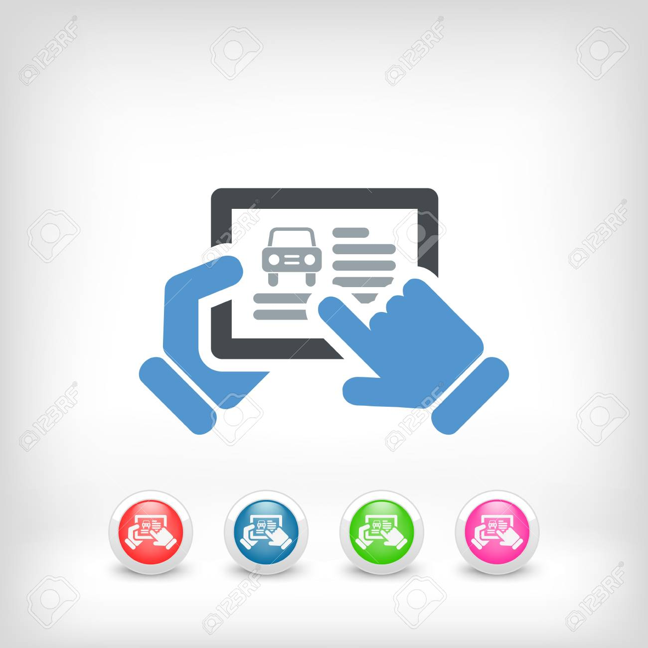 Illustration of automotive website on tablet Stock Vector - 19578933