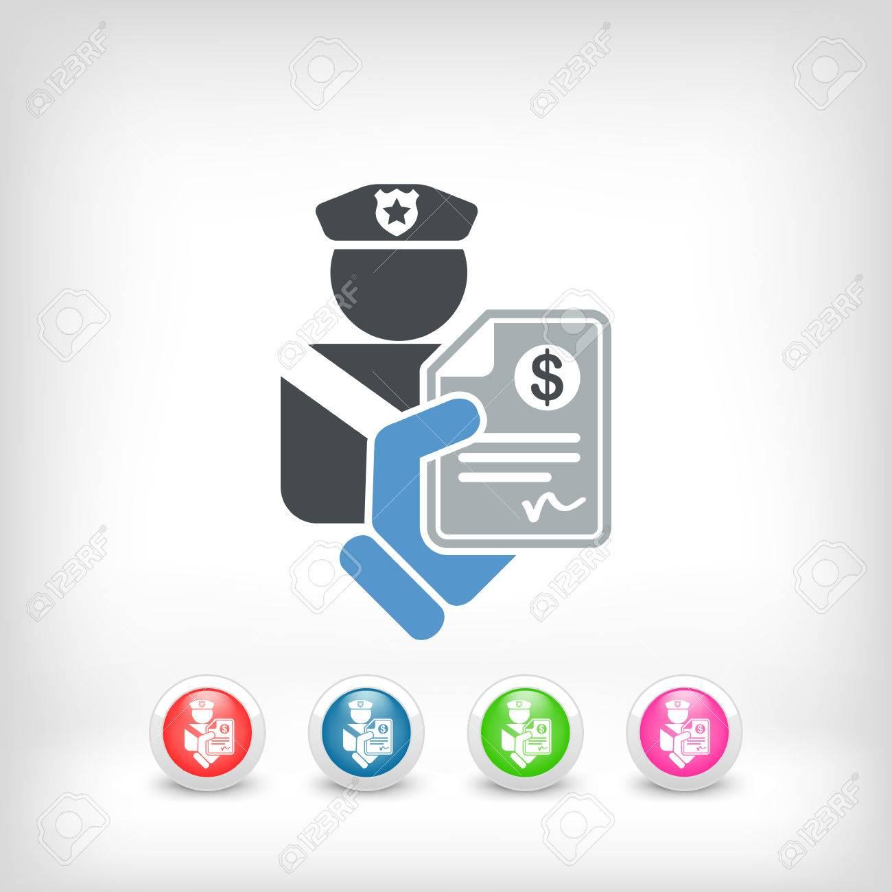Policeman fine icon Stock Vector - 23097542