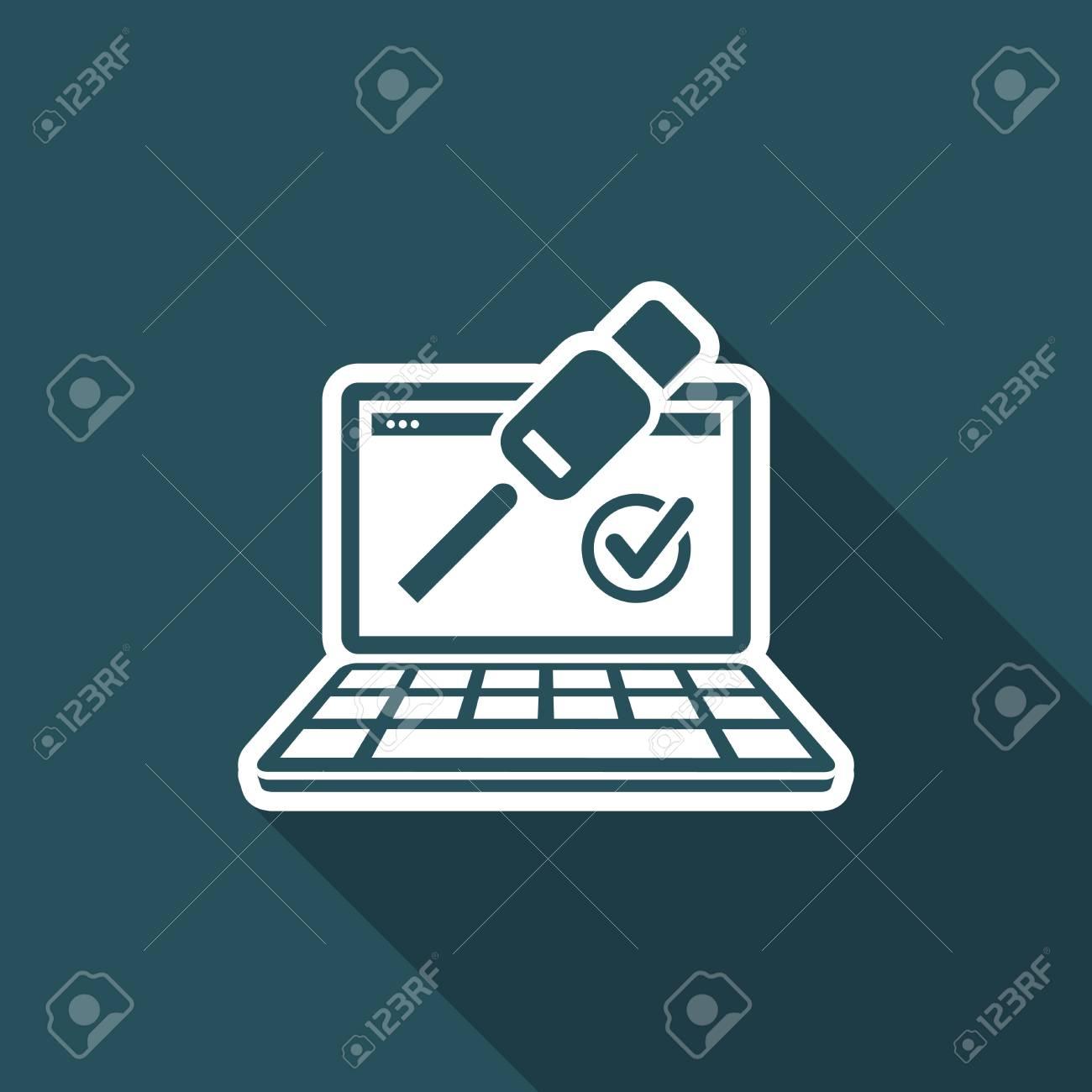 Check usb connection - Flat minimal icon - 74545347