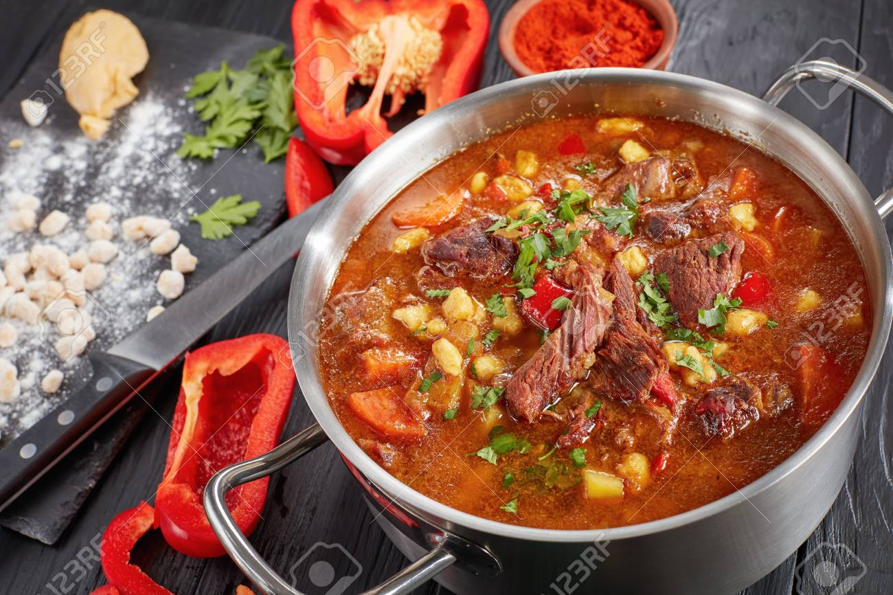 Close Up Of Hot Beef Hungarian Goulash Or Bograch Soup With Stock Photo Picture And Royalty Free Image Image 97106056