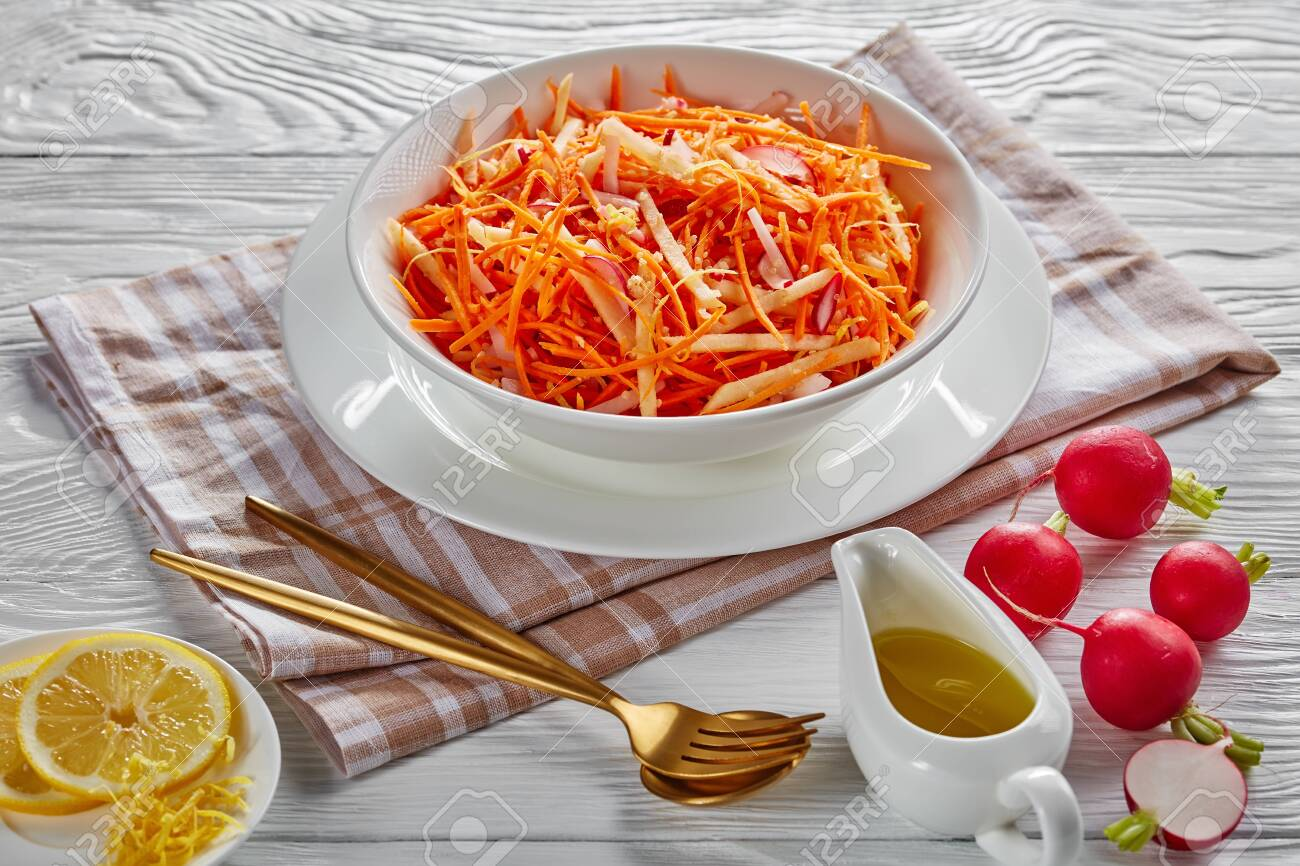 Low Calories Carrot Radish And Apple Salad Sprinkled With Quinoa Stock Photo Picture And Royalty Free Image Image 139300696