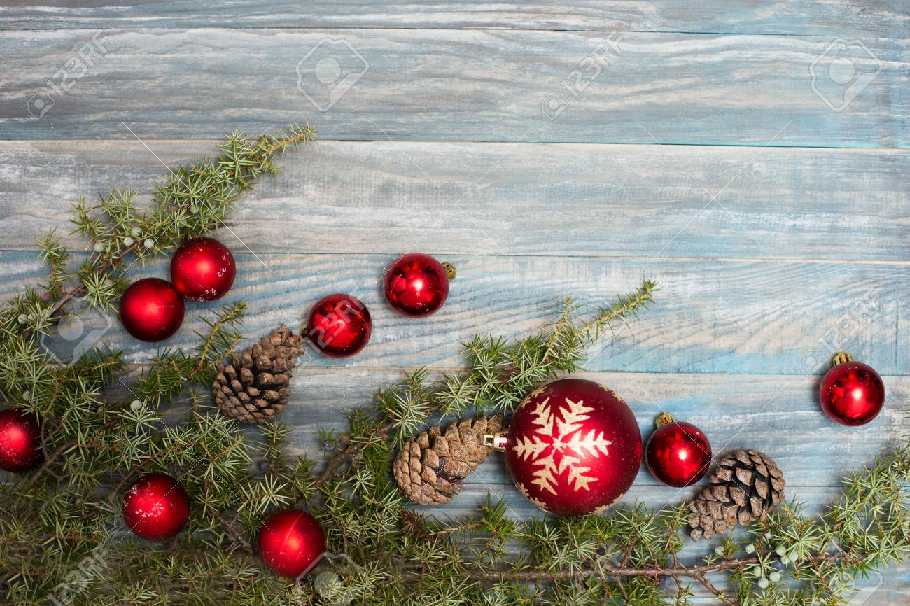 Red Christmas Ornaments In The Form Of A Xmas Tree On A Rustic Stock Photo Picture And Royalty Free Image Image 63706878