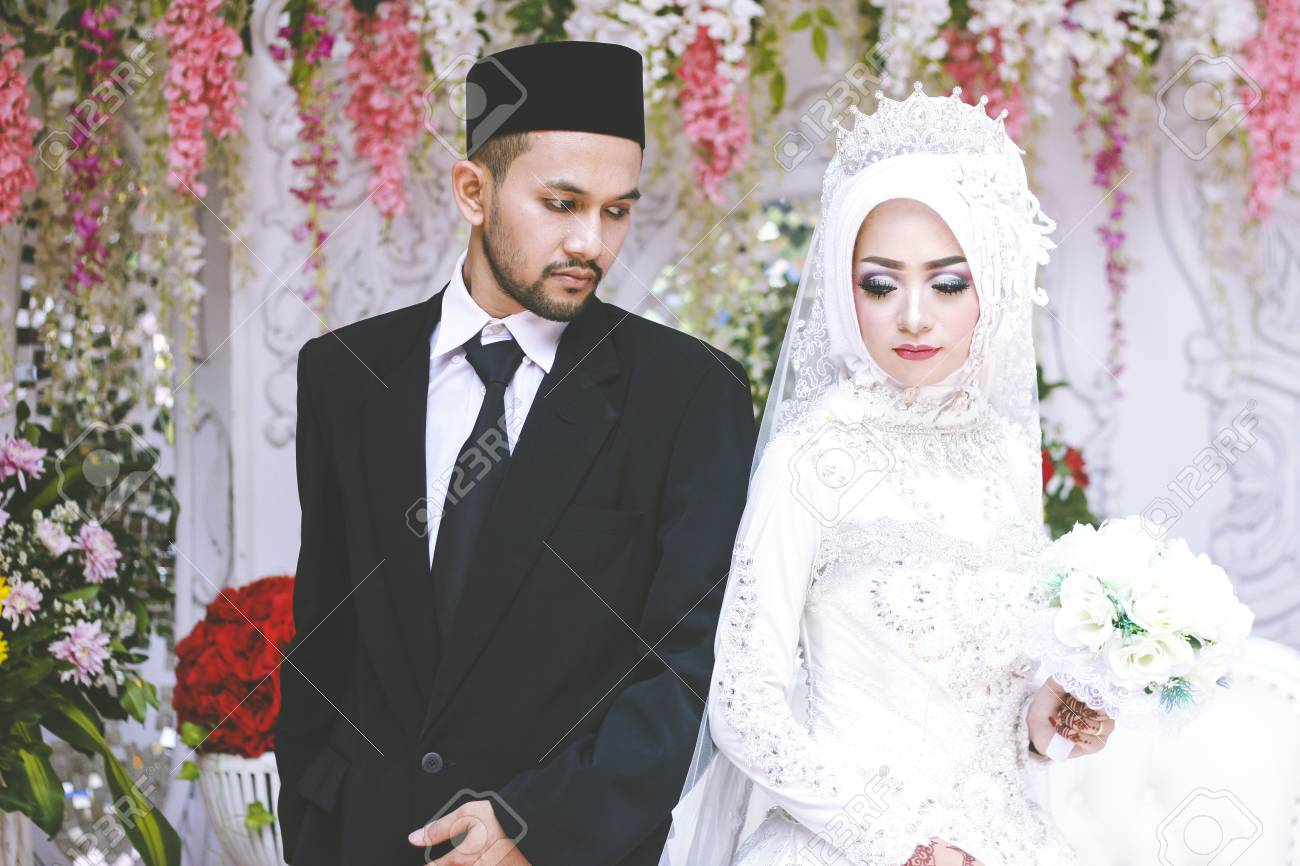Muslim marriage  Romantic wedding muslim couple during the marriage
