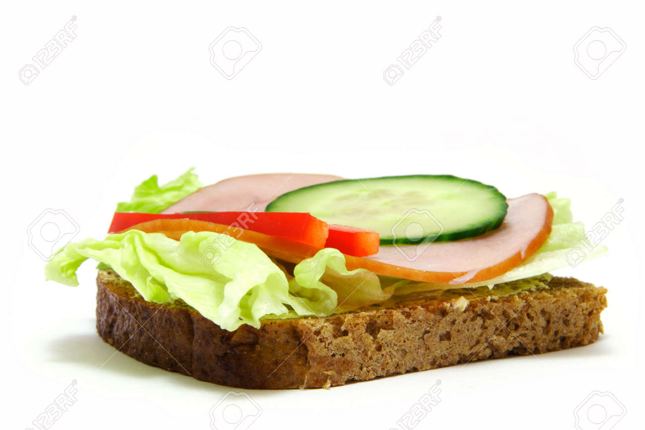 Toast/sandwich with lettuce, ham, cucamber and paprika. Stock Photo - 615025