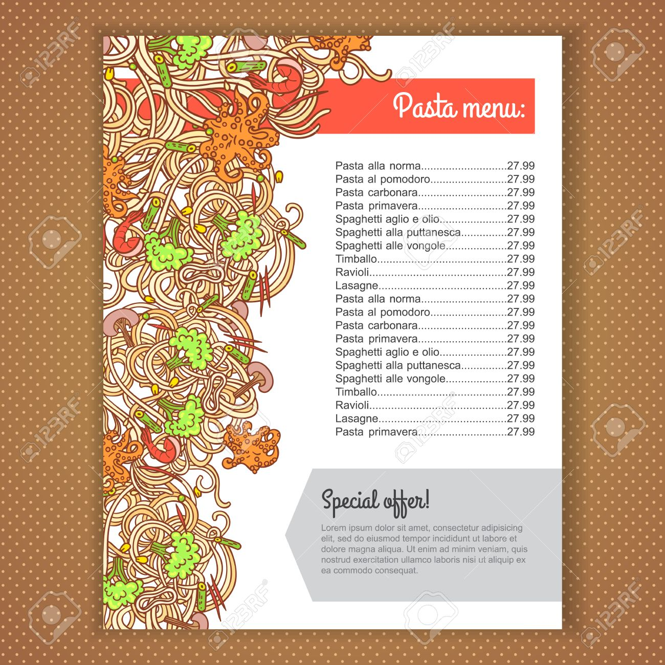 menu card design with italian pasta illustration background