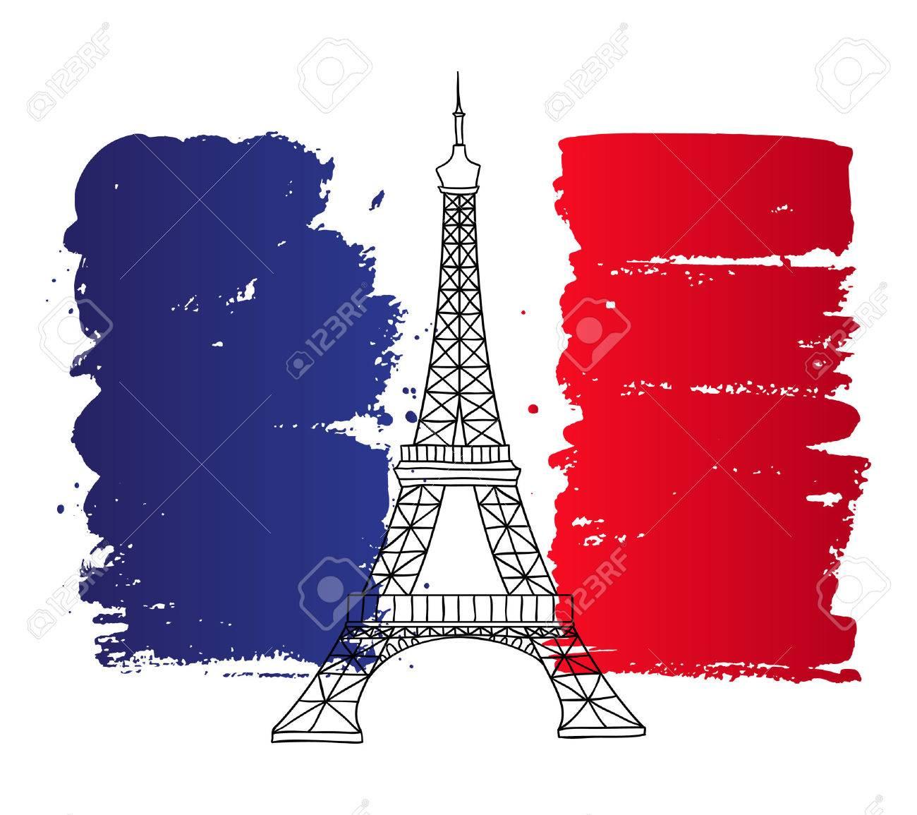 ベクトルのフランスの建築のランドマークのイラスト塗装のフランス国旗