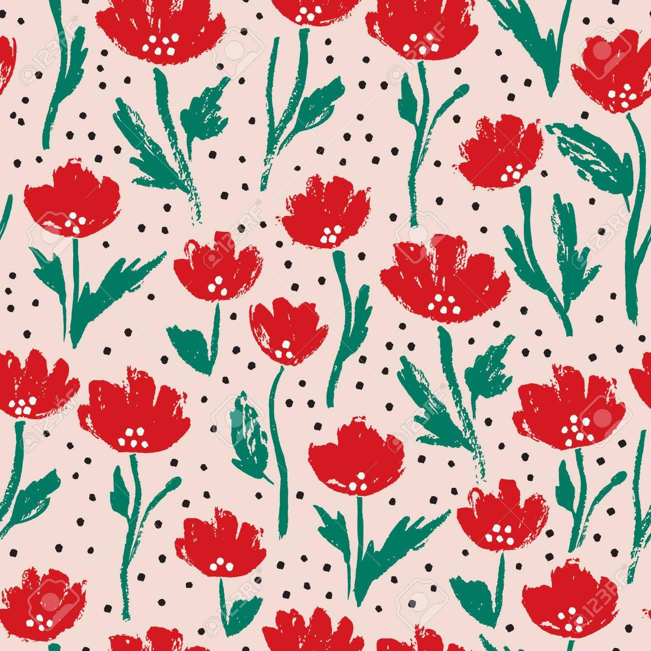 Watercolor Summer Poppy Flower Pattern Vector Nature Seamless