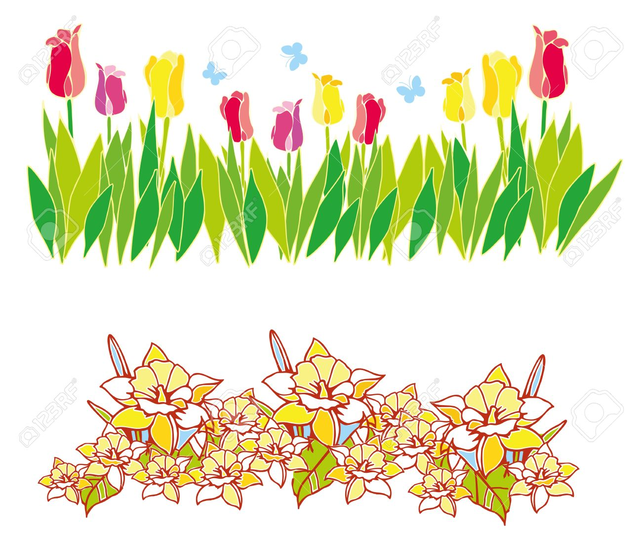 border of spring flowers with green leaves royalty free cliparts rh 123rf com free clipart spring images free clipart spring hampers uk