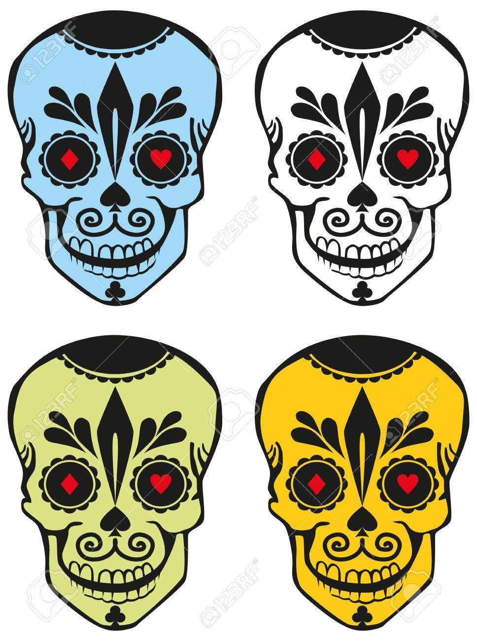 - Four Differently Colored Sugar Skulls With The Symbols Of Playing
