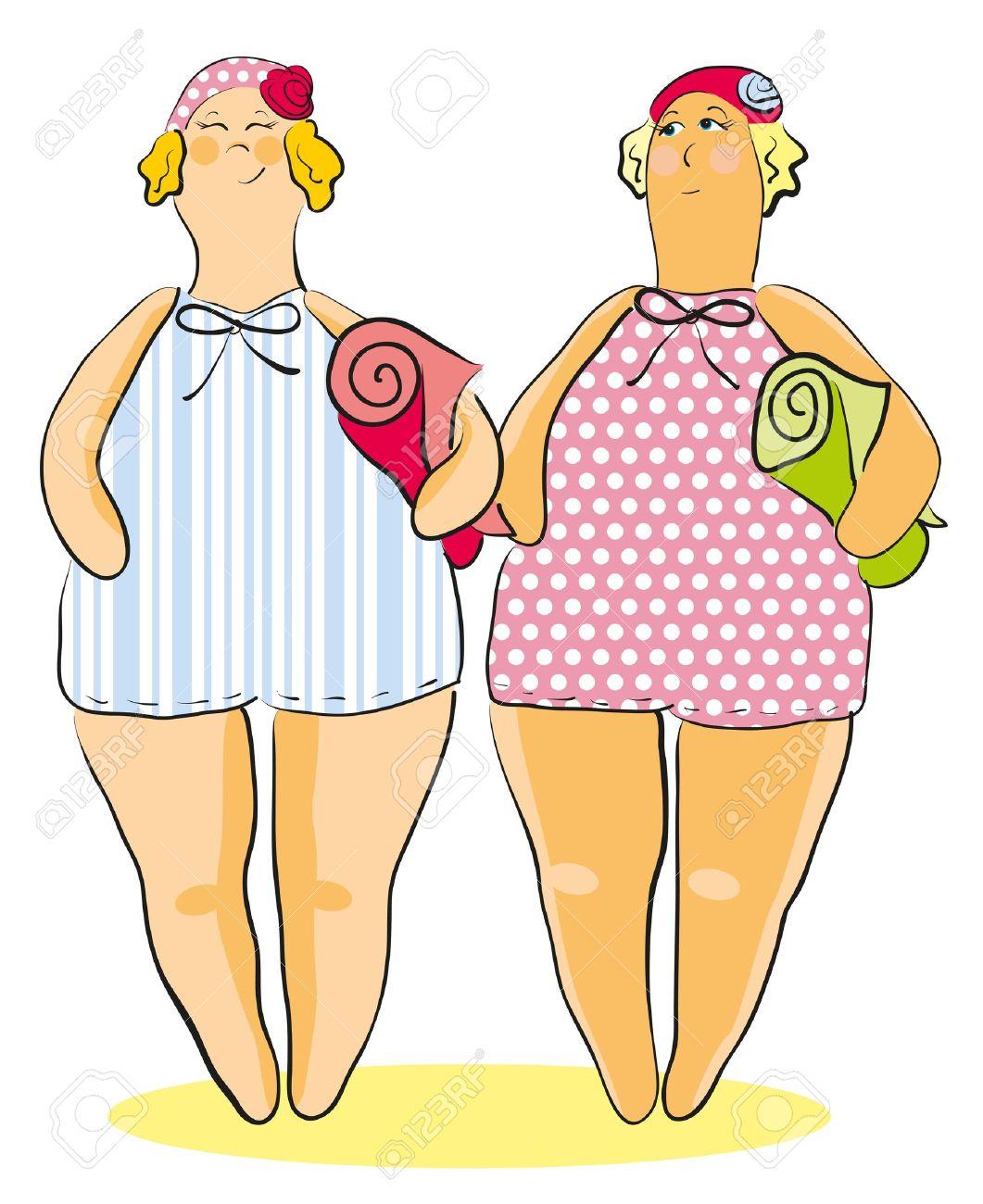 dos mujeres gordas en traje de baño, gorras y toallas Foto de archivo - 13232691