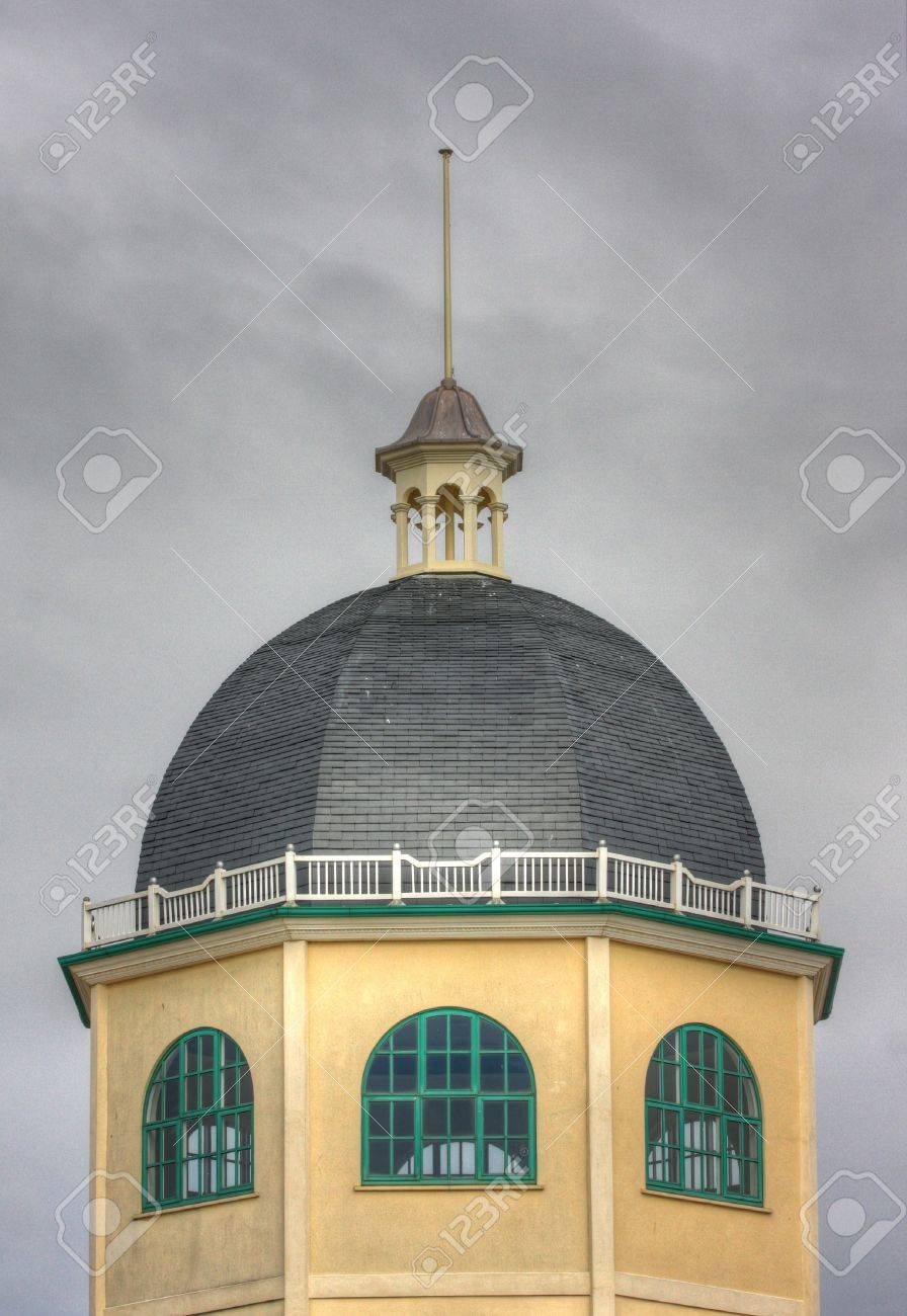 The top of the dome cinema building in Worthing, England  This