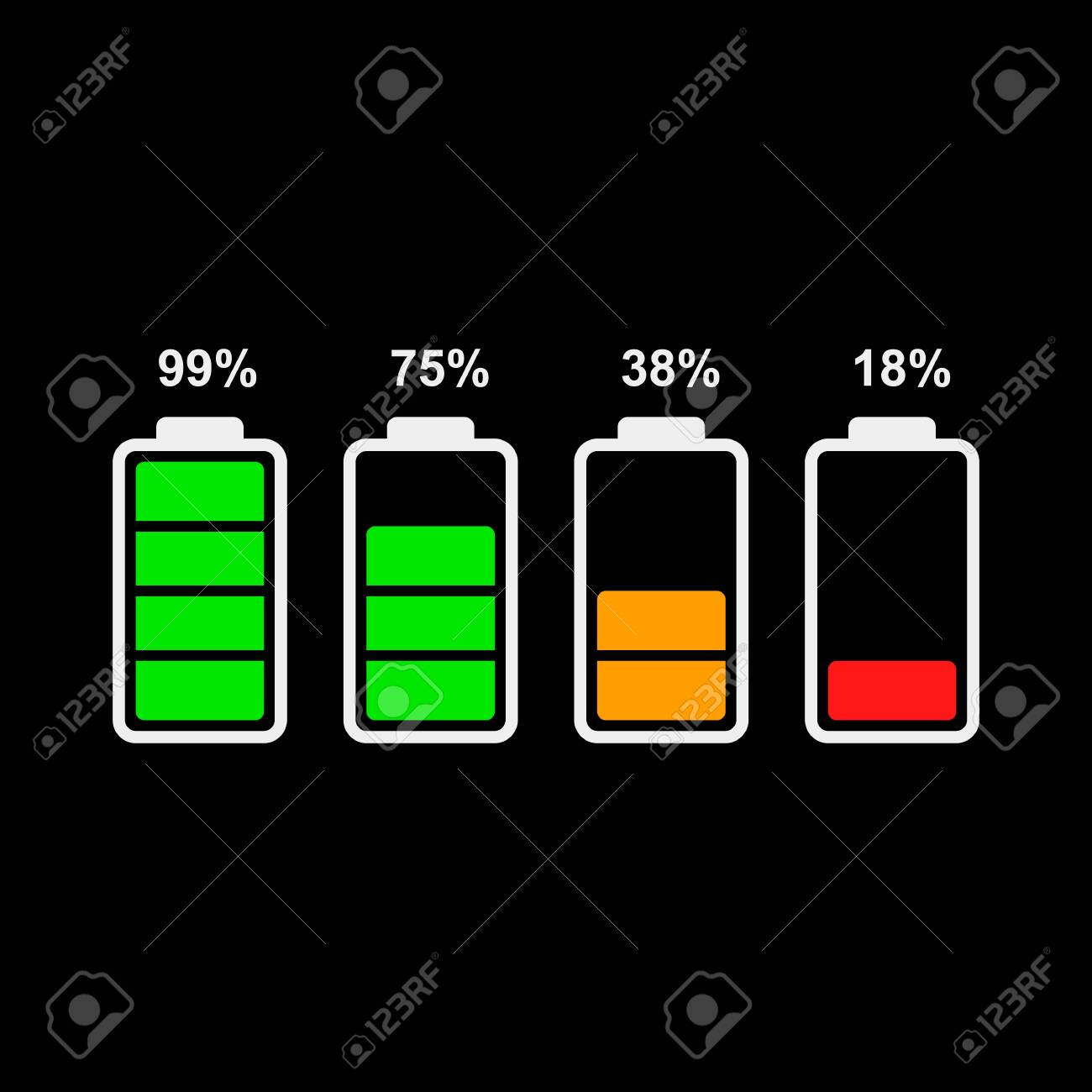Colored Modern Icons Of Battery Level Indicator Flat Vector Royalty Free Cliparts Vectors And Stock Illustration Image 127750822