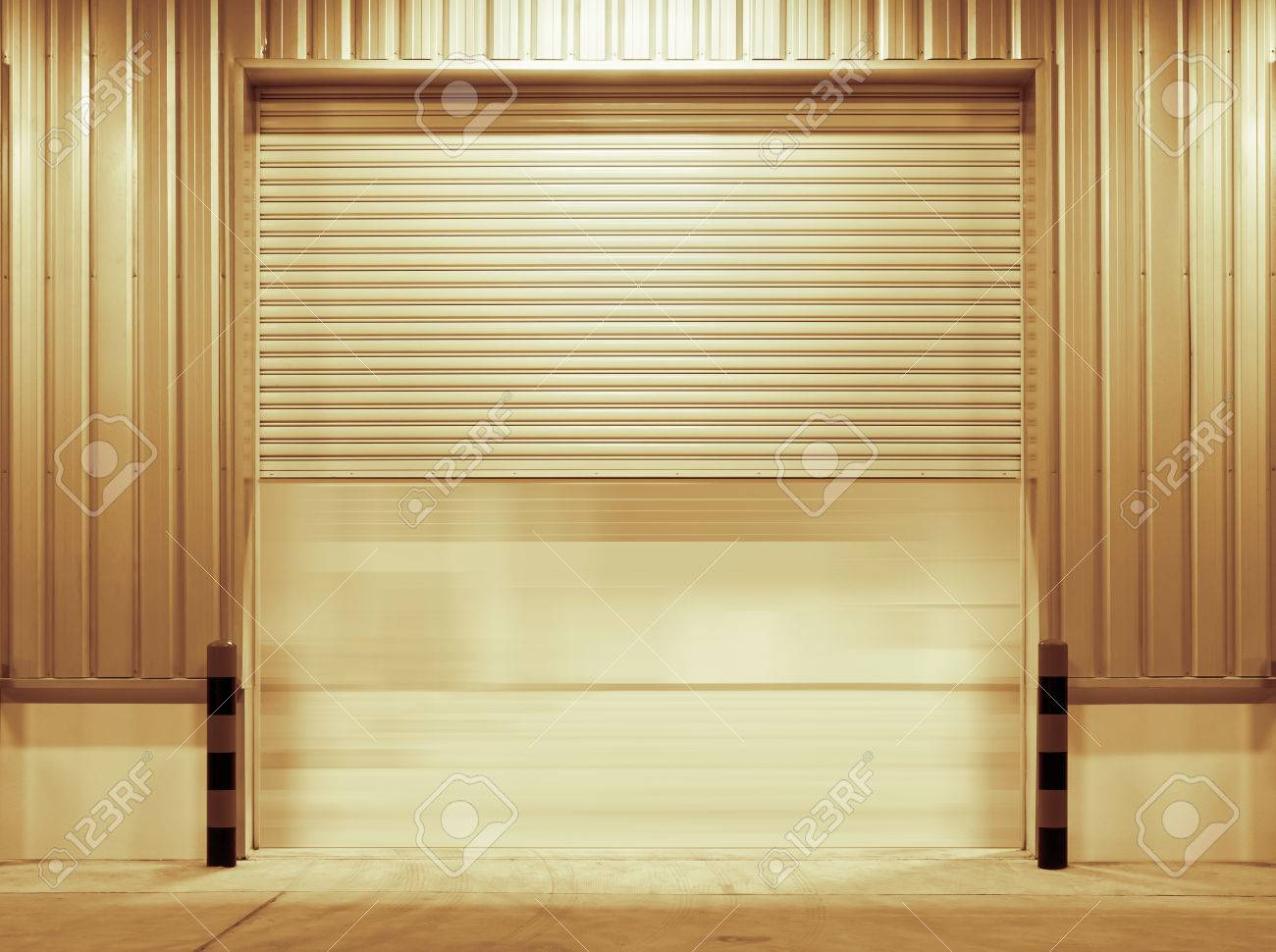 Shutter Door Outside Factory Gold Color Tone Stock Photo   30303401