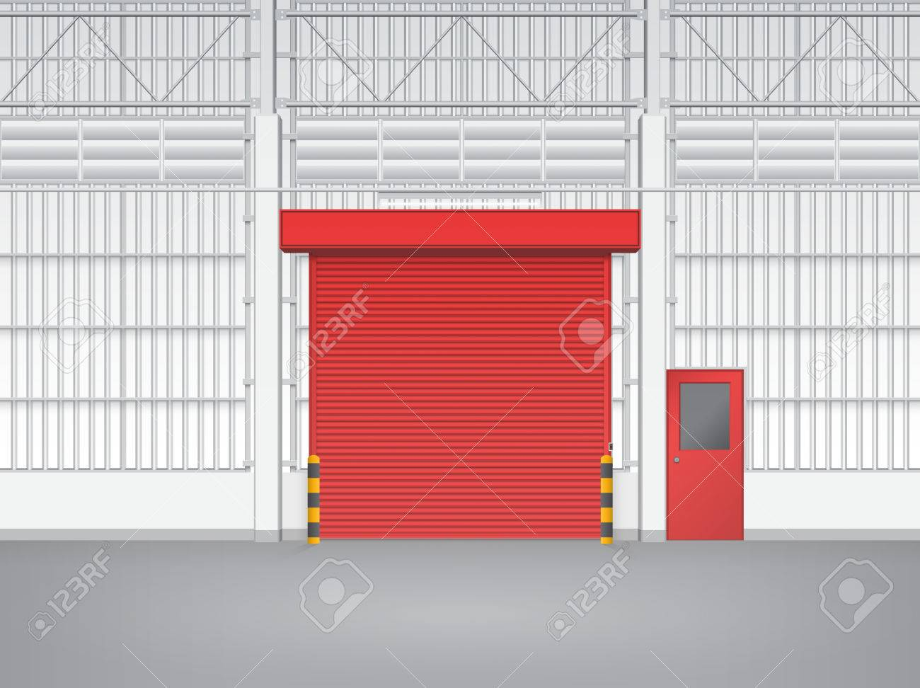Illustration Of Shutter Door And Steel Door Inside Factory, Red Color.  Stock Vector