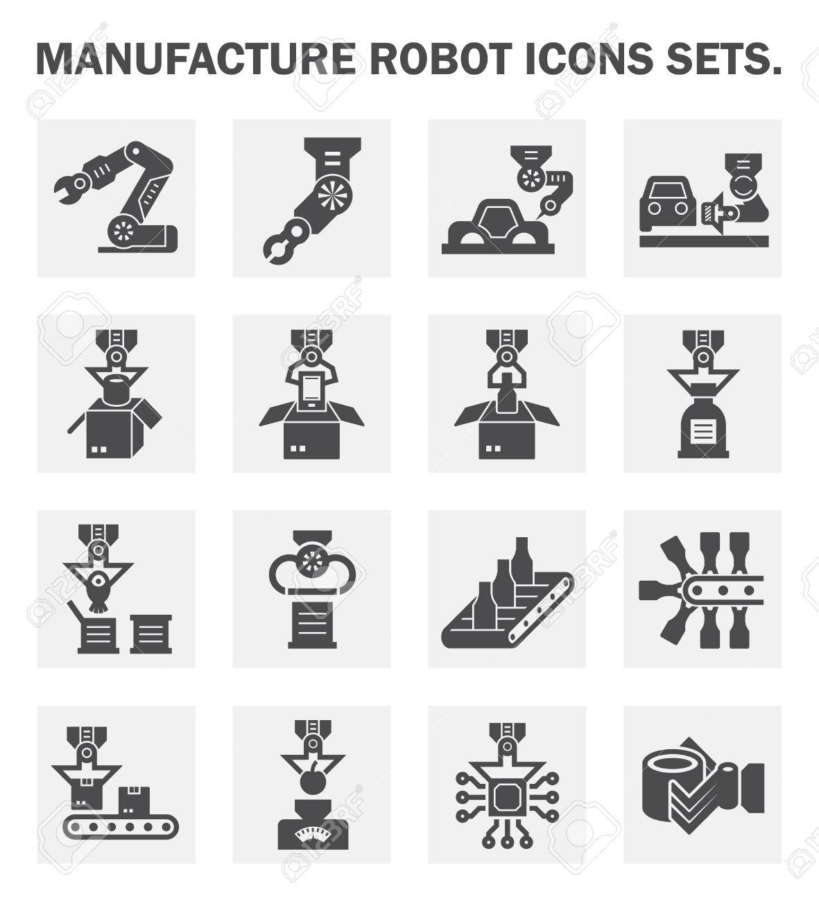 Manufacture robot icons sets. - 45839789