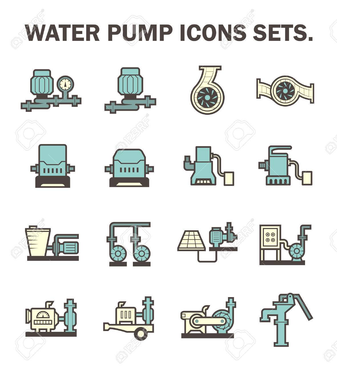 Water pump icons sets. - 54302776