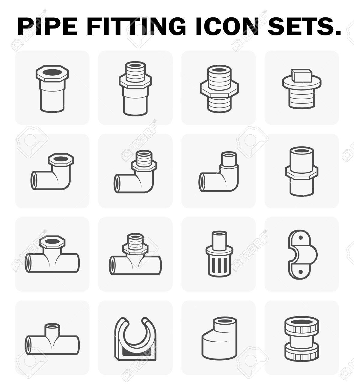 Pipe fitting icon sets design. - 56410939