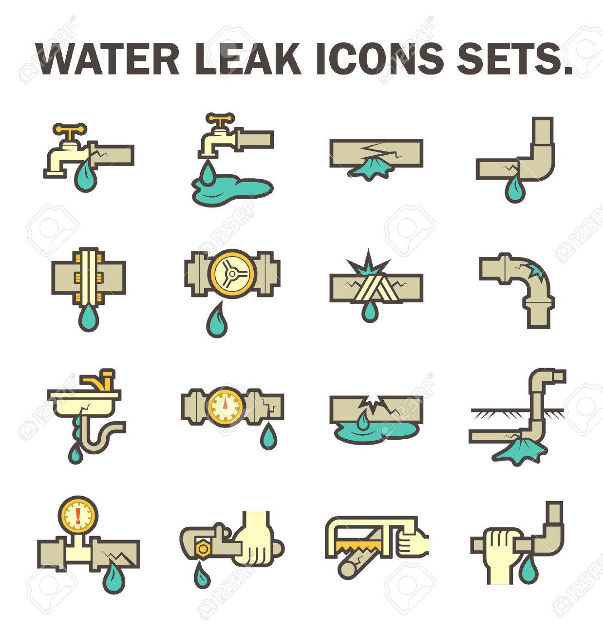 Burst pipe and water leak vector icon set design. - 60305016