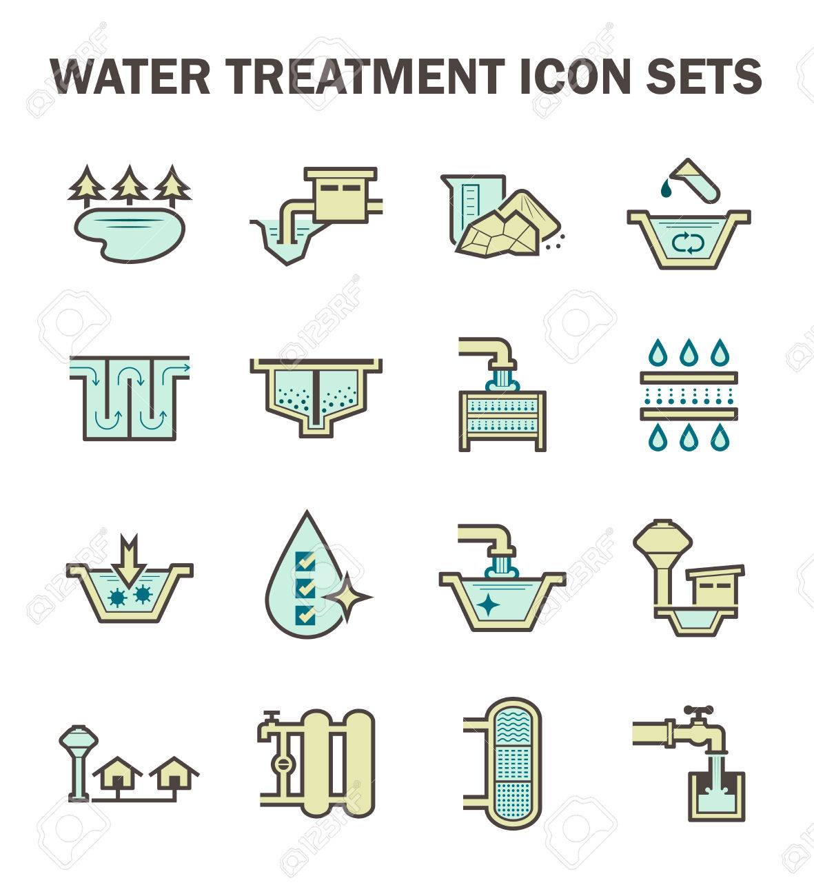 Water treatment and water supply icon set design. - 60305099