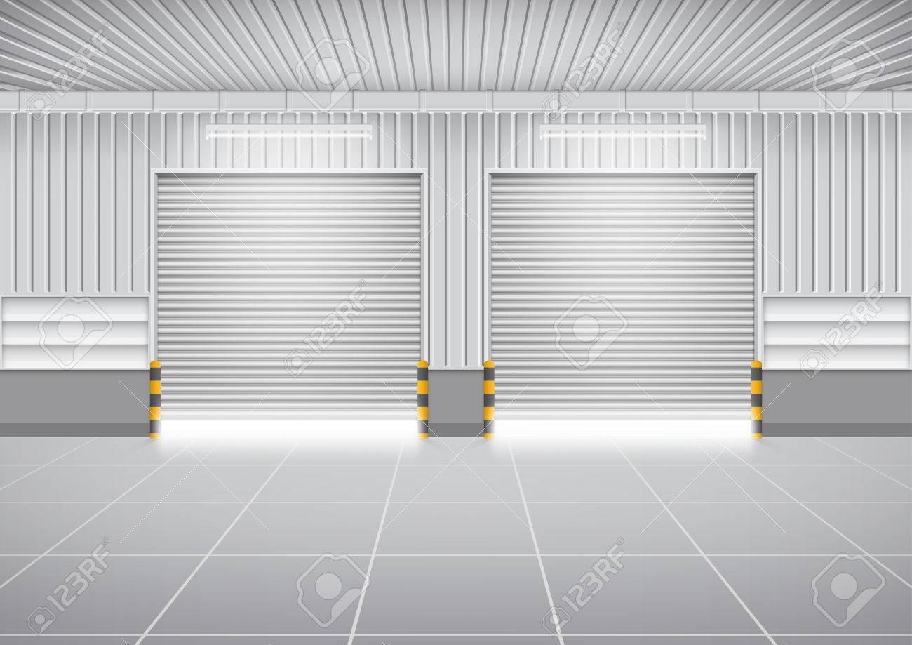 Vector   Vector Of Shutter Door Or Roller Door And Concrete Floor Outside  Factory Building Use For Industrial Background.