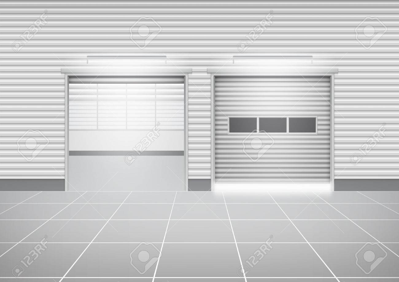 Vektor Von Rollladen-Tür Und Fliesenboden Außerhalb Fabrikgebäude ...
