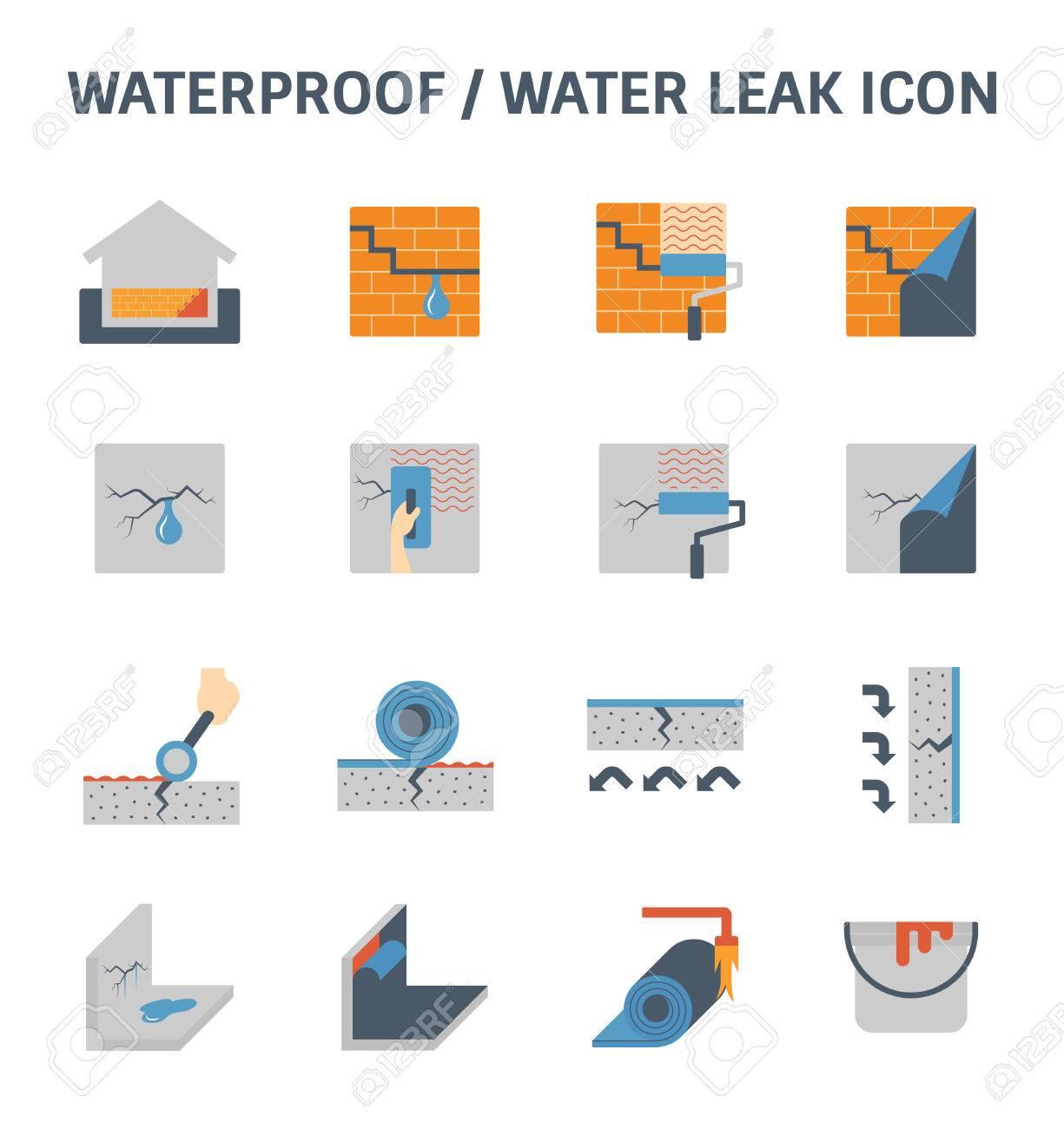 Waterproofing and water leak vector icon set design. - 80041415