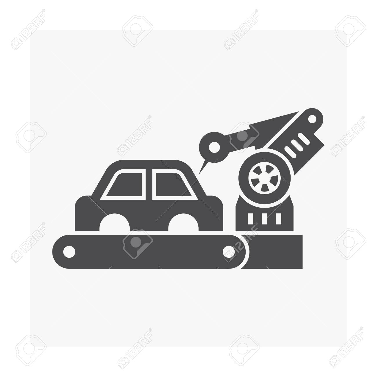 Car Manufacture And Robot Icon On White