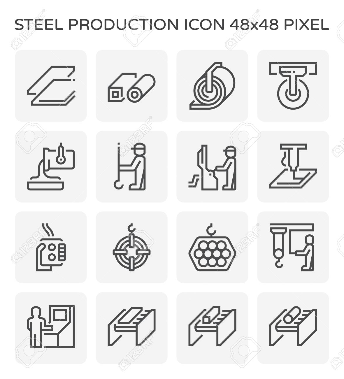 Steel production and pipe icon set, 64x64 pixel perfect and editable