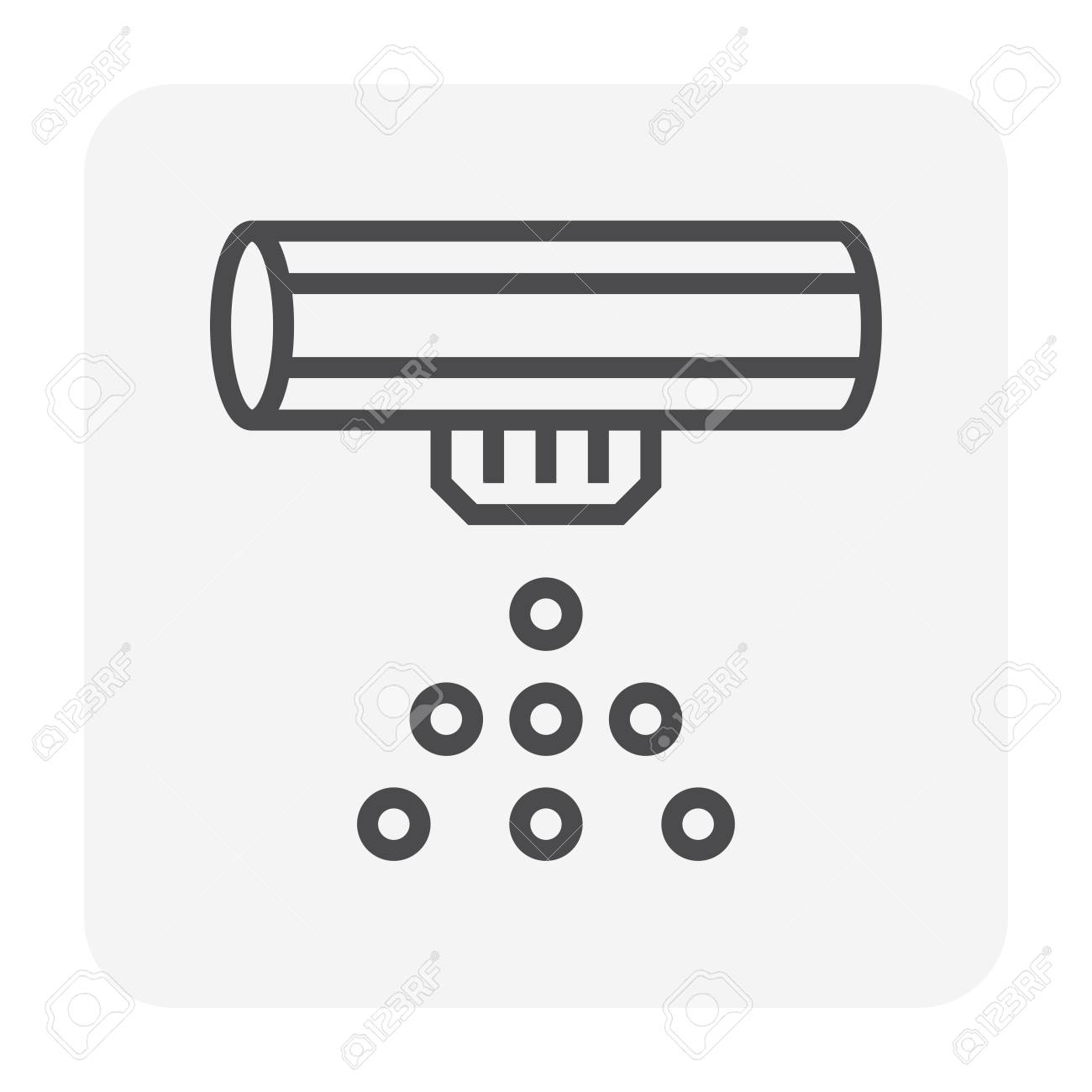 Automatic water sprinkler icon, 64x64 pixel and editable stroke