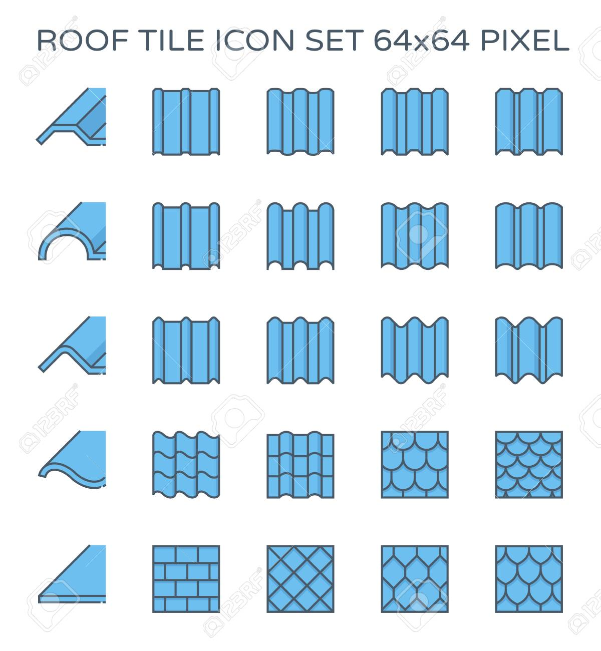 Roof tile icon set, 64x64 perfect pixel and editable stroke. - 112299455