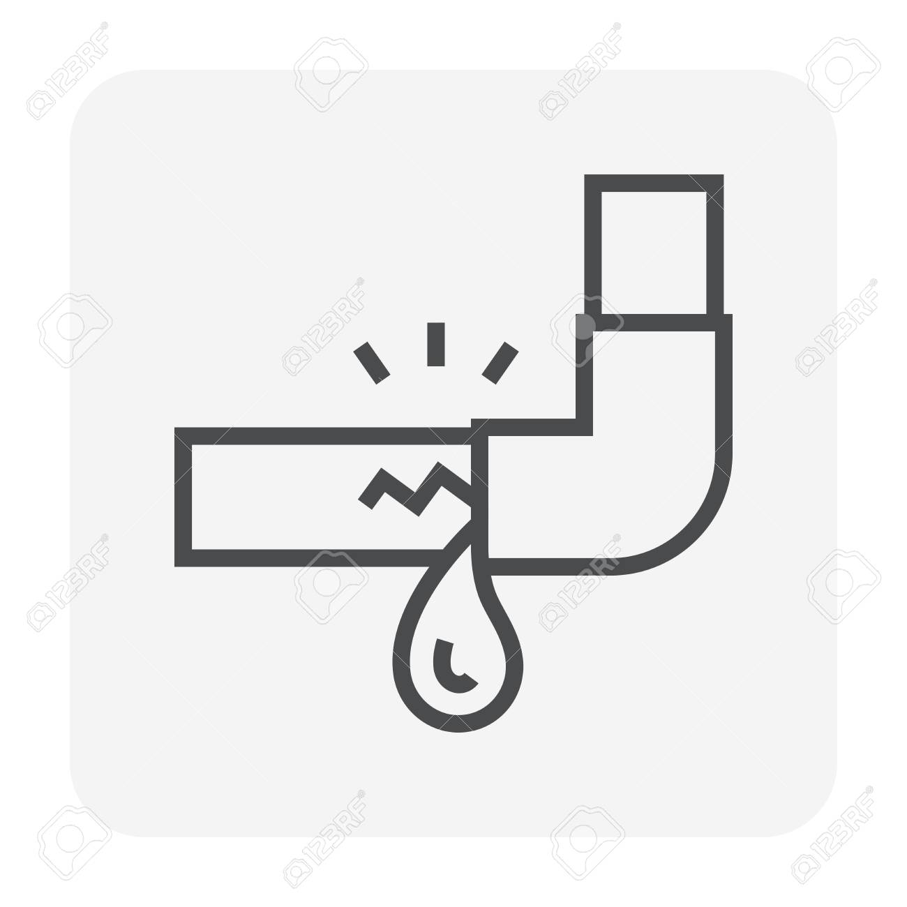 Burst pipe and water leak icon, 64x64 perfect pixel and editable