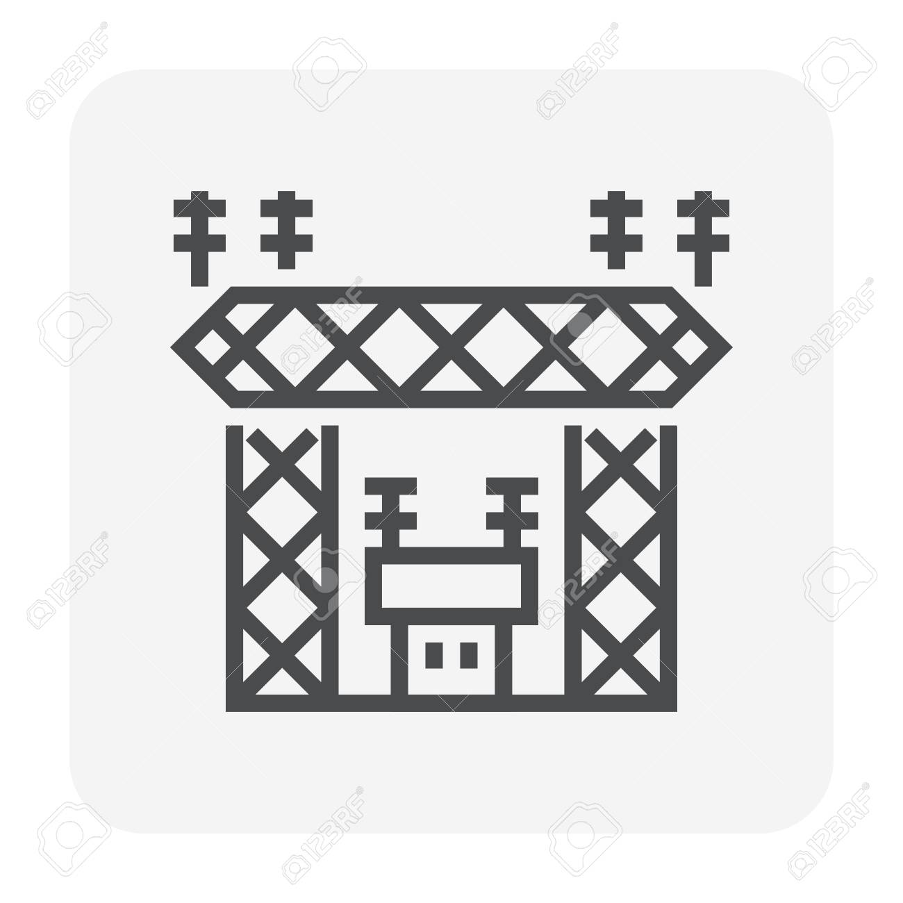 Transmission Tower And Transformer Icon Design For Distribute