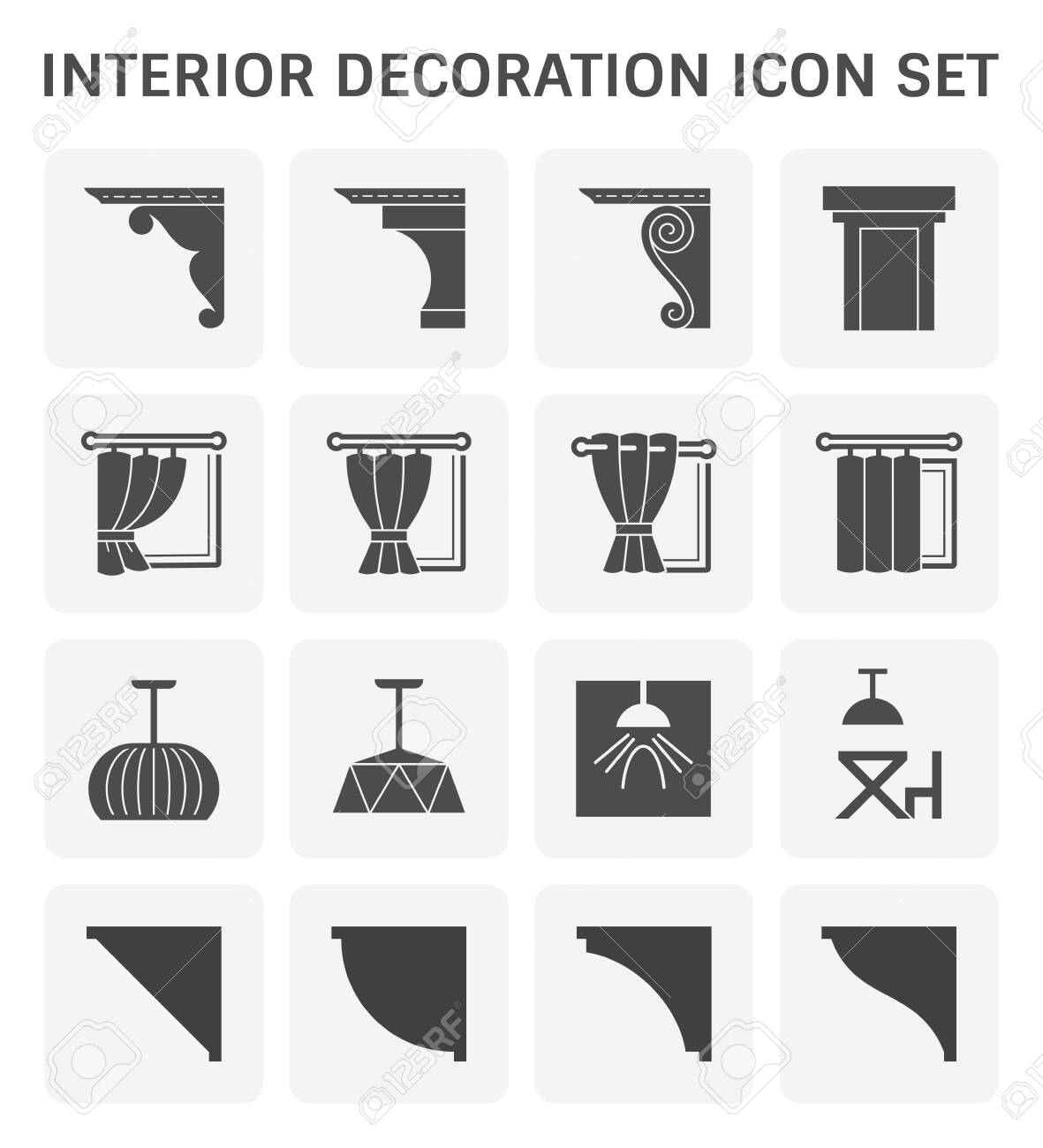 Interior and decoration material icon set design.