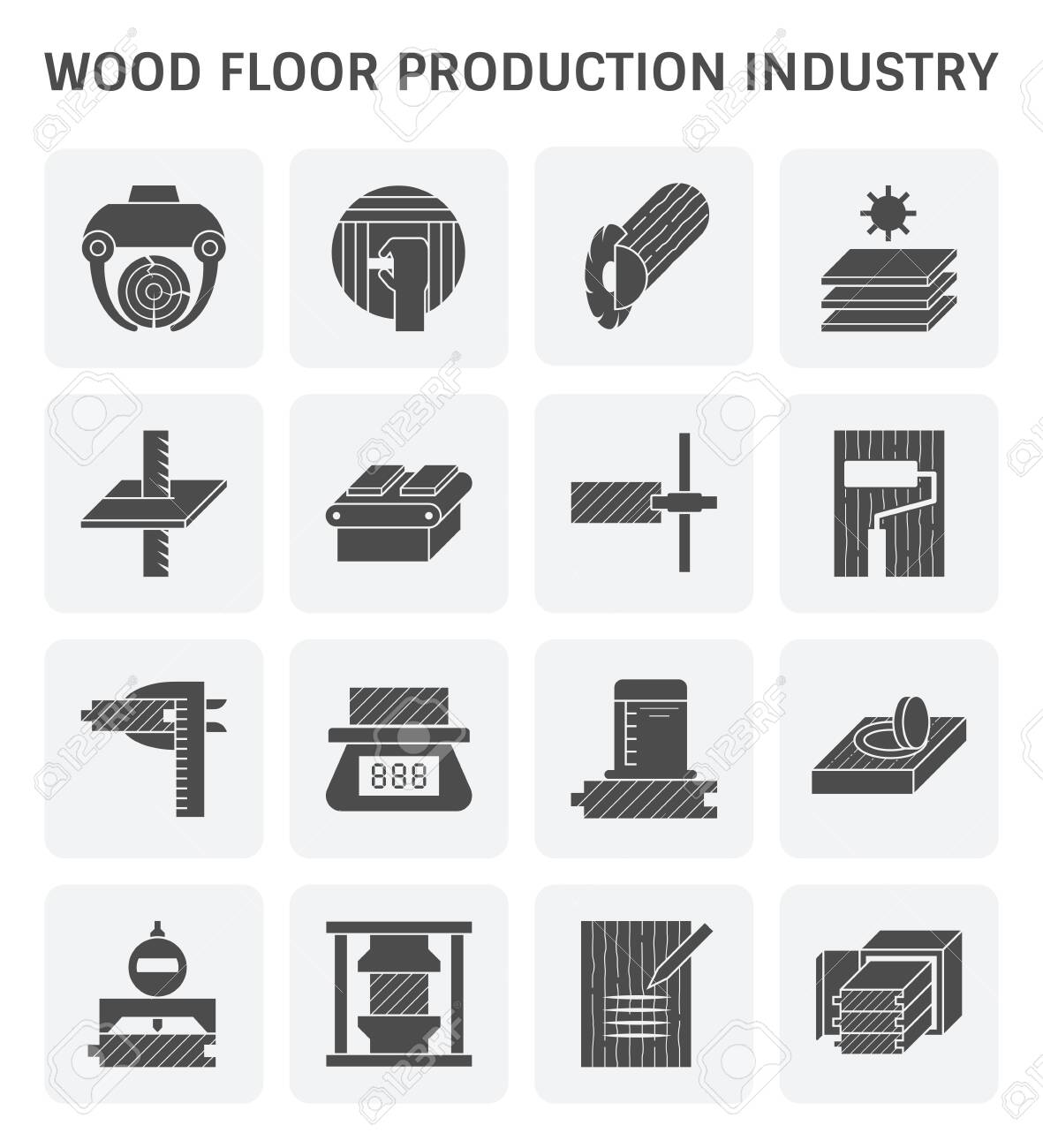 Wood floor production industry and wood testing icon set for wood production industry design element and wood testing design element. - 138660049